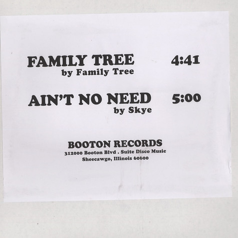 Family Tree / Skye - Family Tree / Ain't no need