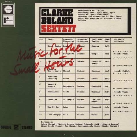 Clarke Boland Sextet - Music for small hours