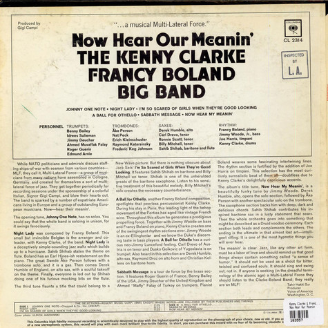 Kenny Clarke & Francy Boland Big Band - Now Hear Our Meanin