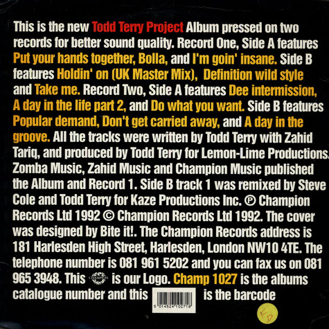 Todd Terry Project, The - Todd Terry Project Album