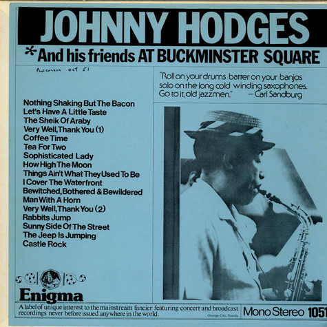 Johnny Hodges - And His Friends At Buckminster Square