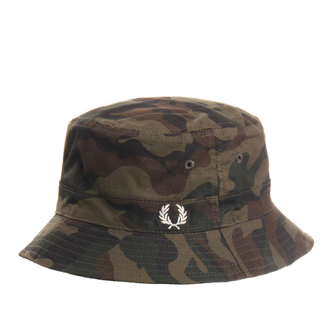 Fred Perry - Ripstop Reversible Bucket Hat (Camo   Black)  13abe9189ae7