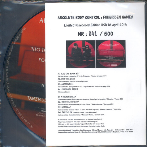 Absolute Body Control - Forbidden Games Picture Disc Edition