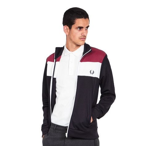 fred perry colour block track jacket navy hhv. Black Bedroom Furniture Sets. Home Design Ideas