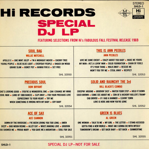 V A  - Hi Records Special DJ LP Featuring Selections From Hi's Fabulous  Fall Festival Release 1969