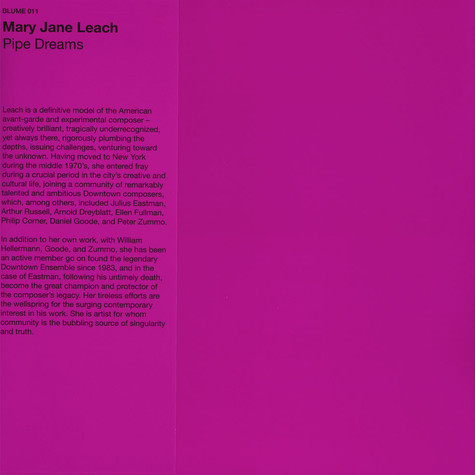 Mary Jane Leach - Pipe Dreams