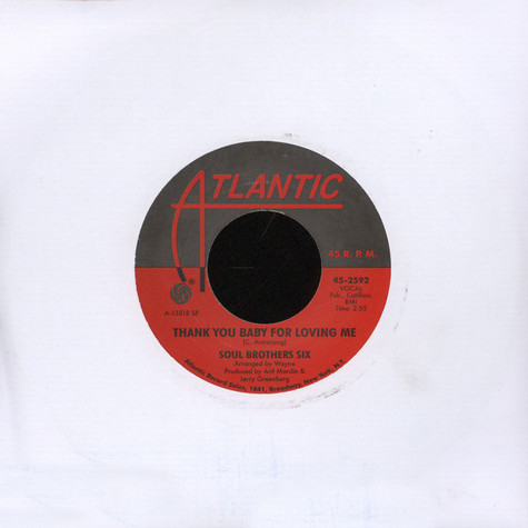 Soul Brother Six - I'll Be Loving You / Thank You Baby For Loving Me