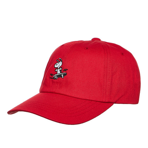 7f81e17eae9 HUF x Peanuts - Peanuts Snoopy SK8 6 Panel Curved Visor Hat (Red)