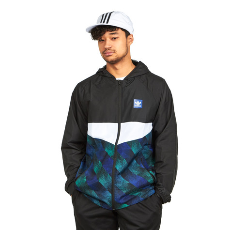 3e9fcdfb9 adidas Skateboarding. Towning Packable Windjacket (Black / White / Active  Blue / Active Green)