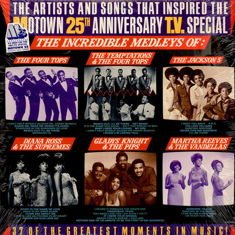 V.A. - The Artists And Songs That Inspired The Motown 25th Anniversary T.V. Special — The Incredible Medleys