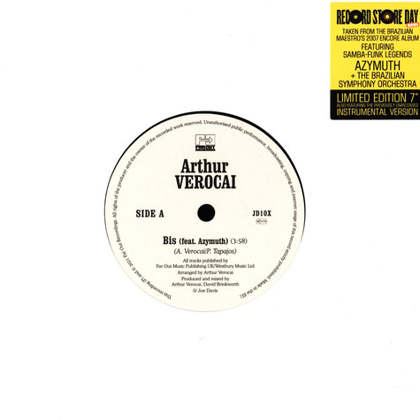 Arthur Verocai - Bis Feat. Azymuth Record Store Day 2021 Edition