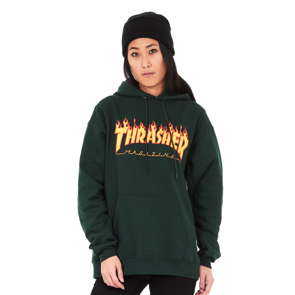 Thrasher Skate Mag Logo Hoodie In Forest Green Detail